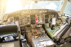 Cabin pilots aircraft view of the windshield, steering wheels, control devices. Cabin pilots aircraft view of the windshield, steering wheels, control devices Stock Photo