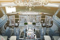 Cabin pilots aircraft view of the windshield, steering wheels, control devices. Cabin pilots aircraft view of the windshield, steering wheels, control devices Stock Images