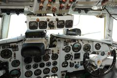 In a cabin of the plane of the Soviet production IL-18 Royalty Free Stock Photography