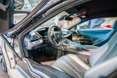 Cabin of a plug-in hybrid sports car BMW i8. HDRi. Royalty Free Stock Photography