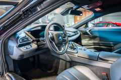 Cabin of a plug-in hybrid sports car BMW i8. Stock Photos