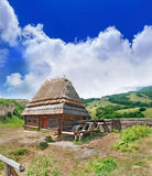 Cabin of poor peasant on picturesque Highlands Stock Image