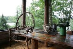 Cabin Porch Serenity Stock Photo