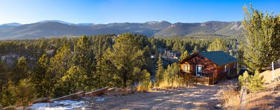 Cabin in the Rocky Mountains royalty free stock photos