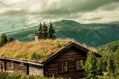 The cabin in Rondane in the mountains of Norway Stock Images