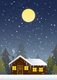 Cabin Scene Christmas Card. Christmas illustration depicting a cabin in the woods during a blizzard stock illustration
