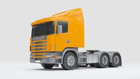 Logistics concept. Cabin of cargo truck isolated on white backgr. Cabin of semitrailer tractor isolated on white background. Front side view. 3D illustration Stock Images