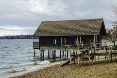 Cabin on the shore of Starnberger See in Munich Royalty Free Stock Images