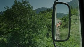 A video of a trainride. A cabin shot  of a trainride stock video footage