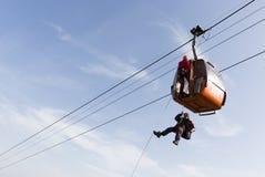 Cabin ski lift saving Stock Photo