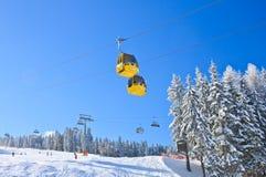 Cabin ski lift.  Ski resort Schladming . Austria. Cabin ski lift. View of  Ski resort Schladming . Austria Stock Photos