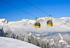 Cabin ski lift.  Ski resort Schladming . Austria Stock Photo
