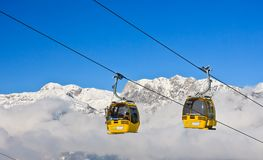 Cabin ski lift.  Ski resort Schladming . Austria Royalty Free Stock Image