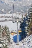 Cabin ski lift.  Ski resort Schladming . Austria. Cabin ski lift.  View of Ski resort Schladming . Austria Stock Photo