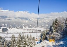 Cabin ski lift.  Ski resort Schladming . Austria. Cabin ski lift. View of Ski resort Schladming . Austria Royalty Free Stock Photography