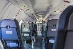Cabin of Sky Express aircraft at Corfu International Airport, Corfu, Greece Royalty Free Stock Images