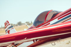 Cabin of a small sports plane, sunny day Stock Images