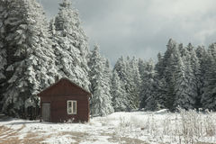 Cabin in the snow Stock Image