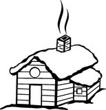 Cabin with snow vector illustration. Vector illustration of a cabin with snow vector illustration