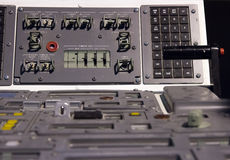 The cabin space shuttle. Control mechanism in the cabin space shuttle Royalty Free Stock Image