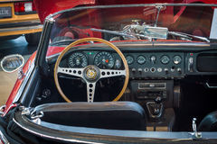 Cabin of sports car Jaguar E-Type 4.2 Serie I roadster, 1967. Royalty Free Stock Photos