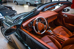 Cabin of a sports car Porsche 911 Carrera 4S Cabriolet. Royalty Free Stock Image