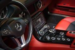 Cabin of supercar Mercedes-Benz SLS AMG (R197), 2012. Stock Photos