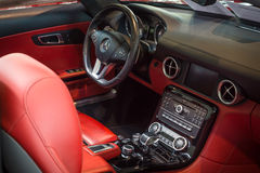 Cabin of supercar Mercedes-Benz SLS AMG (R197), 2012. Stock Images