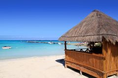 Cabin tropical sea  on turquoise caribbean Royalty Free Stock Images