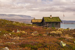 Cabin with turf roof near Hardangervidda National Park, Buskerud. Cabin with turf roof near Hardangervidda National Park with Sloddfjorden lake in the background Stock Photos