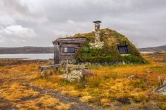 Cabin with turf roof near Hardangervidda National Park, Hordalan Stock Image