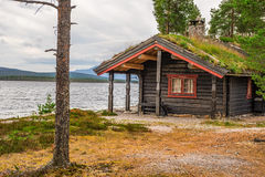 Cabin with turf roof  in Norway Royalty Free Stock Image
