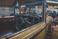 Cabin of vintage car Cadillac 341B Convertible, 1929. Stock Photos