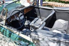 Cabin of a vintage sport car `Austin Healey 3000`, closeup Stock Photos