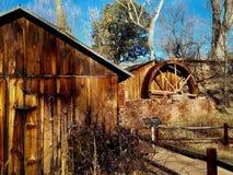 Coconino remains. Cabin and waterwheel at Coconino  flagstaff Stock Image