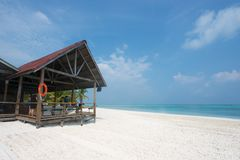 A cabin on the white beach. The photo was taken at Mengalum Island, Sabah, Malaysia, on Oct. 6th 2012 Royalty Free Stock Photo