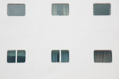 Cabin windows of cruise ship Royalty Free Stock Photo