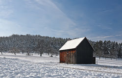 Cabin in Winter. This image shows a cabin in winter stock image