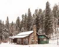 A Cabin in Winter in Custer State Park Royalty Free Stock Photography