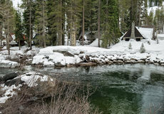 Cabin in Winter, Sierra Nevada Range. Heavy snowfall, South Yuba River, Donner Summit Stock Image
