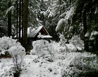 Cabin in Winter Snow Royalty Free Stock Image