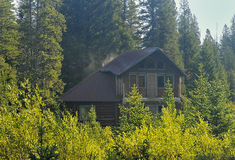 Cabin on the Woods. Cabin on a forest with smoke stock photos