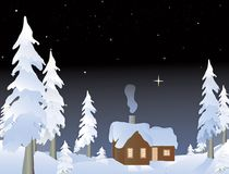 Cabin in the woods. Cabin in the snowy woods at night Stock Images