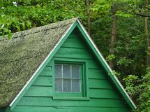 Cabin in the woods. Top of a green cabin in the woods royalty free stock images