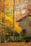 Cabin in the woods with autumn. A cabin in the woods surrounded by trees with autumn leaves royalty free stock images