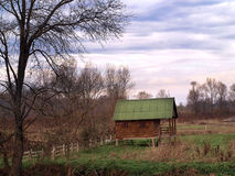 Cabin in the woods. Autumn rural landscape deep in the woods Royalty Free Stock Images