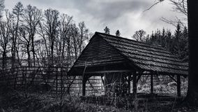 Cabin in the woods. In the cloudy day stock photos
