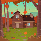Cabin in woods. Cartoon illustration of the autumn forest landscape with wooden cabin royalty free illustration