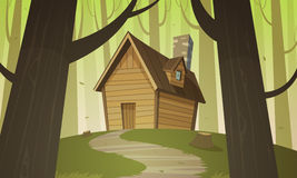 Cabin in woods. Cartoon illustration of the summer forest landscape with wooden cabin royalty free illustration