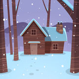 Cabin in woods. Cartoon illustration of the winter forest landscape with wooden cabin vector illustration